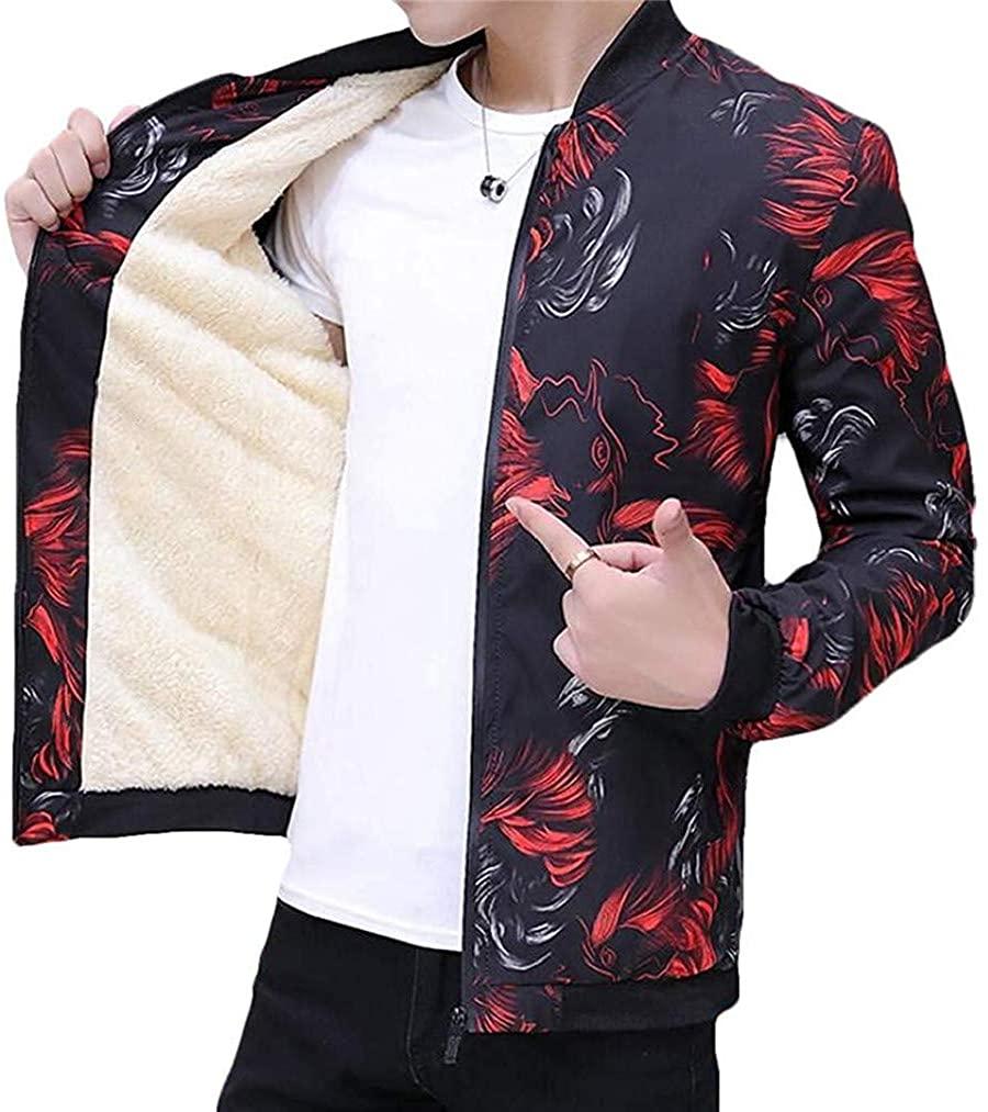 ssjjsacv Men's Print Linen Fleece Thicken Baseball Bomber Stand Collar Jacket