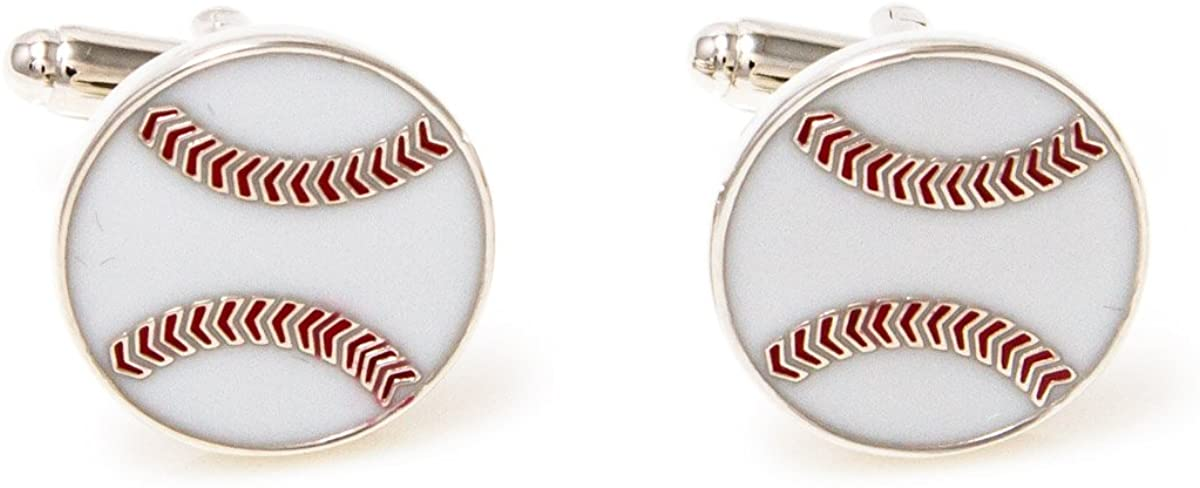 MRCUFF Baseball Pair Cufflinks in a Presentation Gift Box & Polishing Cloth