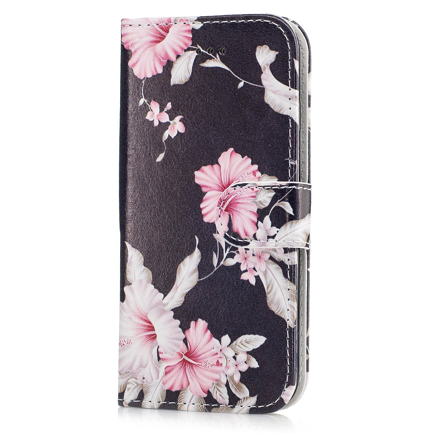 STENES iPhone 7 Wallet Case - Stylish Series Rose Flower Premium Soft PU Color matching [Stand Feature] Leather Wallet Cover Flip Cases For iPhone 7 - Black