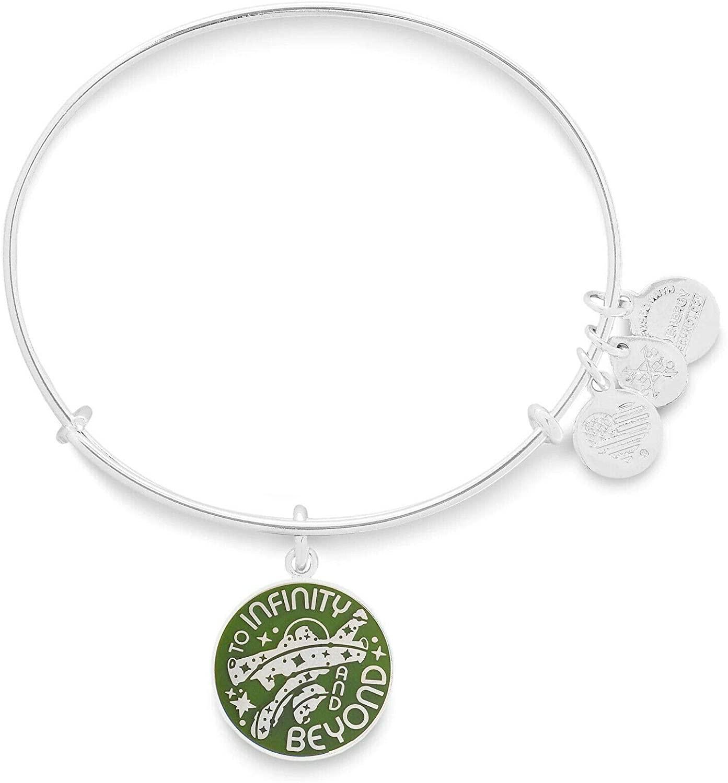 Alex and Ani Disney Parks Toy Story Buzz Lightyear to Infinity and Beyond Bangle Bracelet - Jewelry Gift (Silver)