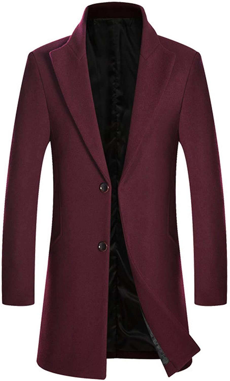 HOP FASHION Mens Long Wool Blend Overcoat Winter Thicken Two Button Outwear Jacket