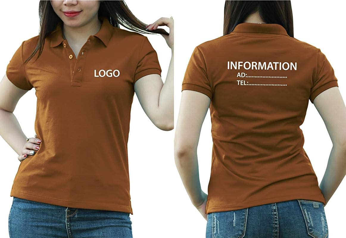 Add Custom Personalize Your Logo Text. Print On Polo & T-Shirt with Multi Sides –Sizes - Colors. Pack of 10