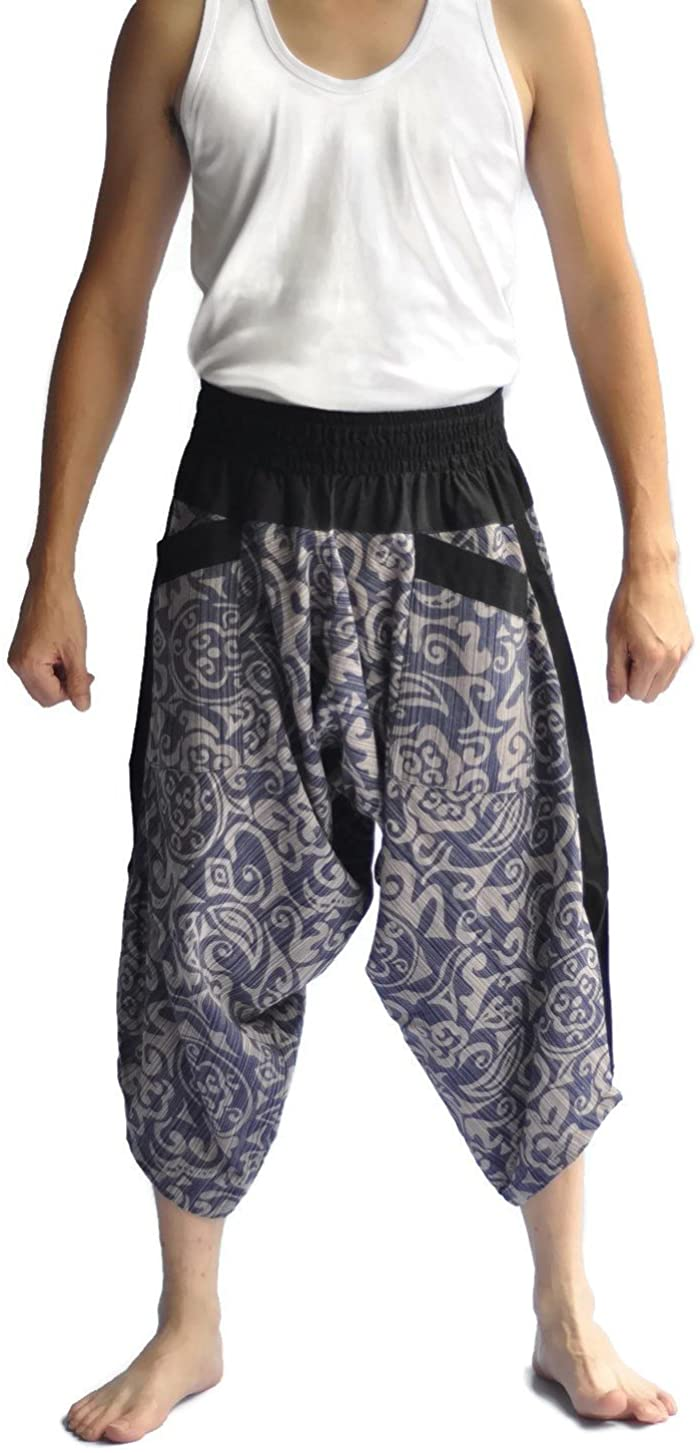 Siam Trendy Men's Japanese Style Pants One Size Black Thai Art
