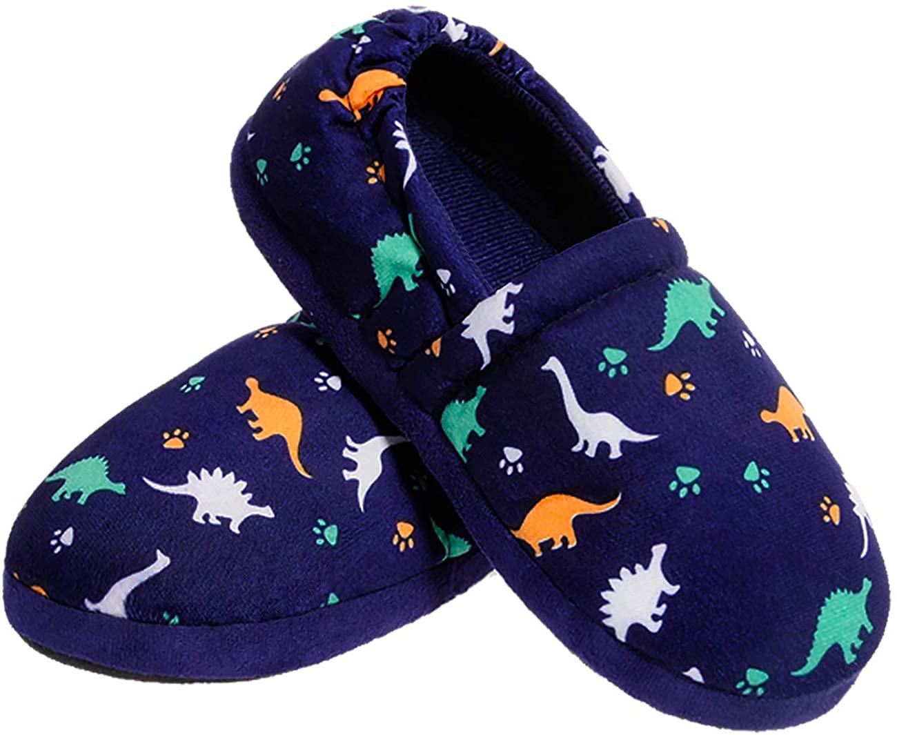 festooning Kids Boys Comfy House Slippers Memory Foam Indoor Shoes