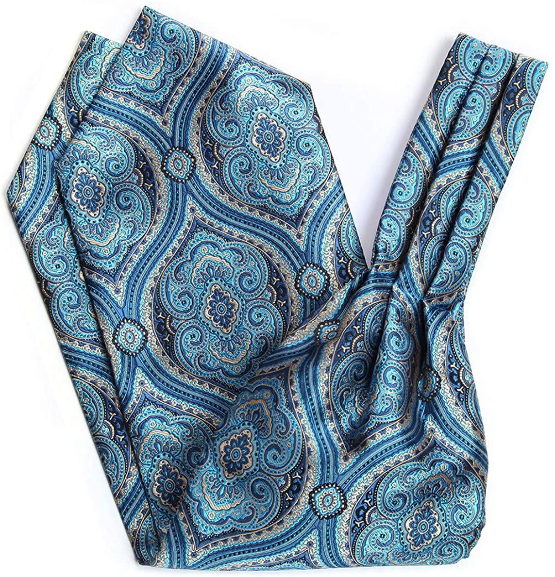 HISDERN Men's Floral Jacquard Woven Self Cravat Tie Ascot