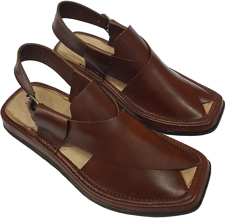 handmade Bilawal bhutto Zardari Style Leather Peshawri Chappal (US-11) Dark Brown