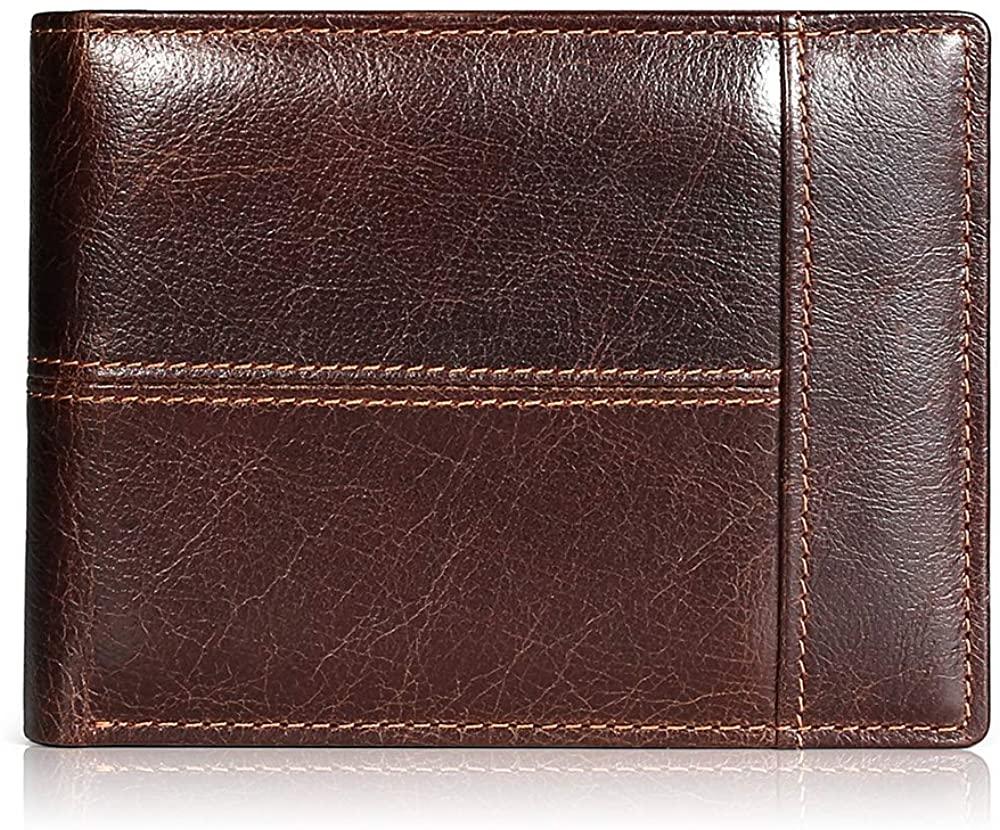 Mens Wallet Slim Genuine Leather RFID Thin Bifold Wallets For Men Minimalist Front Pocket ID Window 12 Card Holders Gift Box