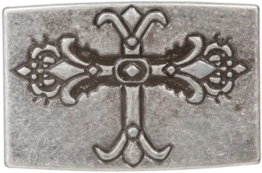 Religious Cross Rectangle Silver Belt Buckle