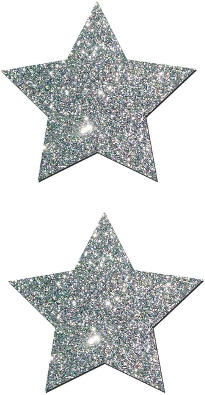 Rave Wonderland Rockstar: Silver Glitter Star Nipple Pasties
