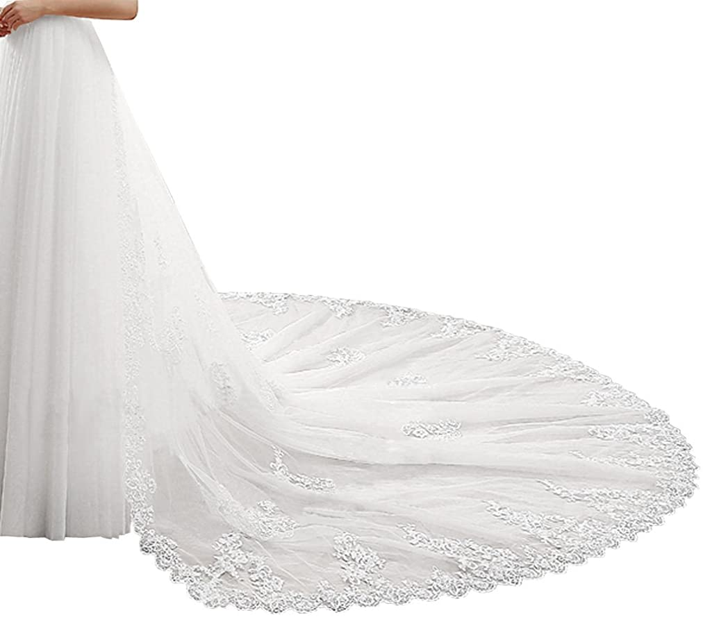 1.8M Detachable Train with lace Tulle Overskirts Costume Removable Skirt