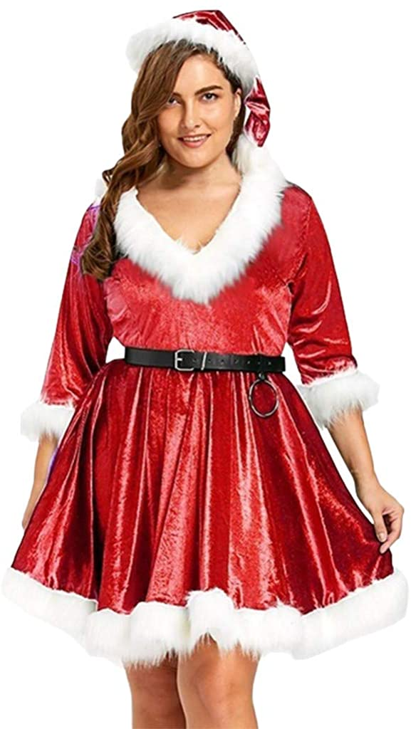 Forwelly Plus Size Women Christmas Dress Sexy V Neck Velvet Petite Dress Xmas Party Adult Santa Cosplay Costume Belt Hat Suit