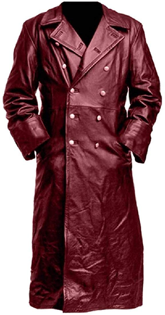 Mens Classic Officer Faux Leather Button Trench Coat