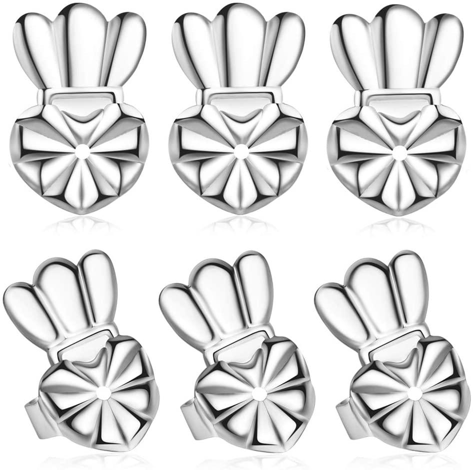 Magic Secure Ear Lifters, Adjustable Pierced Earring Backs, Silver Earring Backs for Drooping Earrings 3 Pairs Per Set