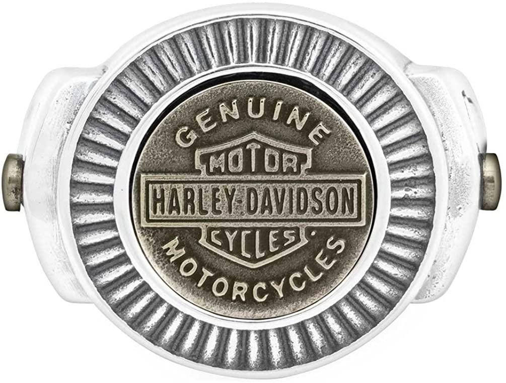 Harley-Davidson Mens Gold Toned Bar & Shield Ring, Stainless Steel HSR0045