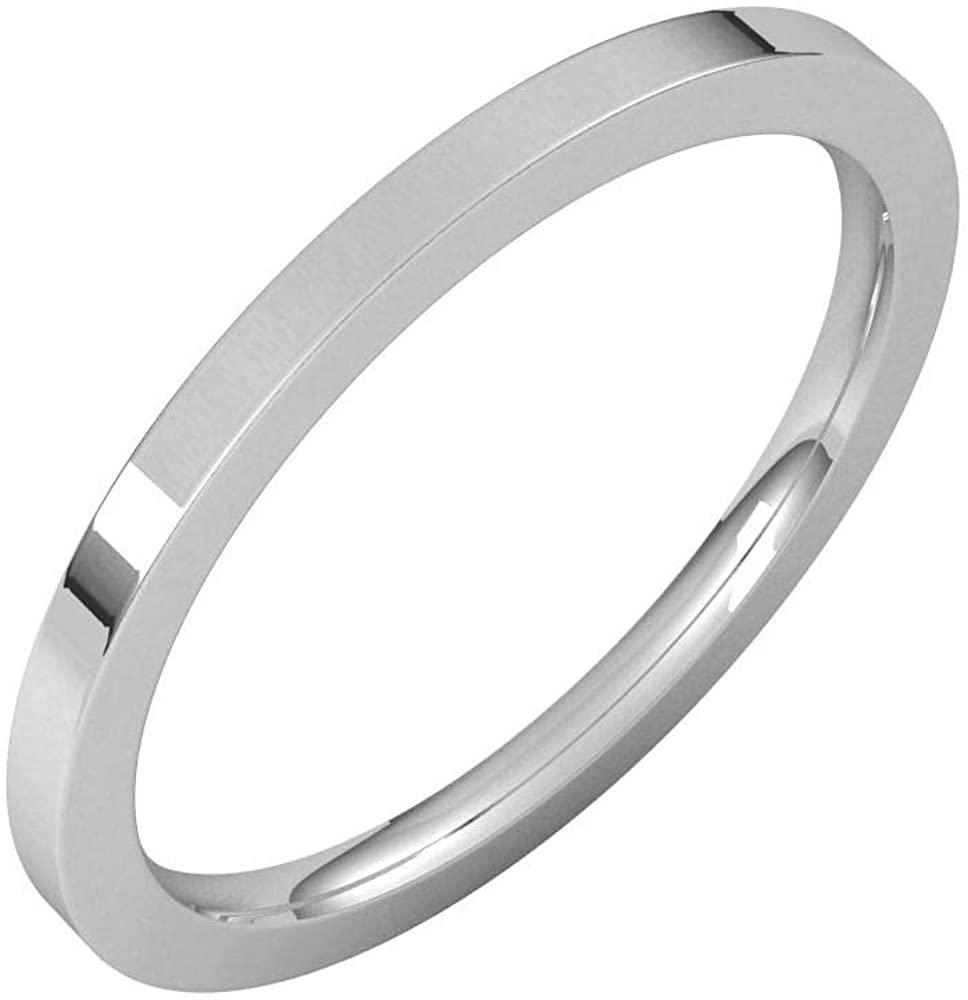 Solid Palladium 1.5mm Flat Comfort Fit Wedding Band Size 8