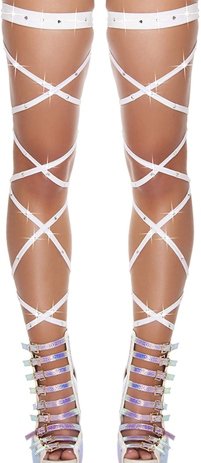 Seevy Women's Sexy Shiny Rhinestone Leg Wraps for Raves Dancing Music Festivals Club Wear