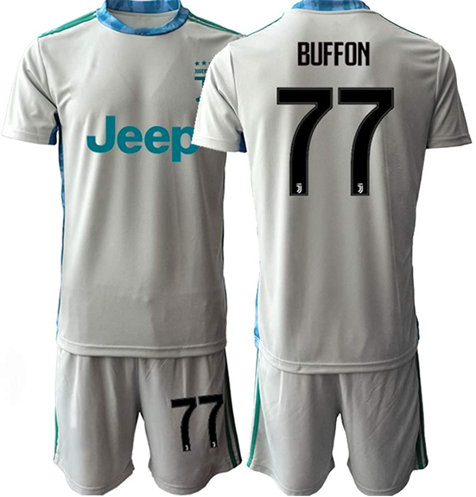 WEIFENG Kids 20/21 Buffon 77# Juven Soccer Jersey T-Shirt and Sports Shorts Suit -Silver