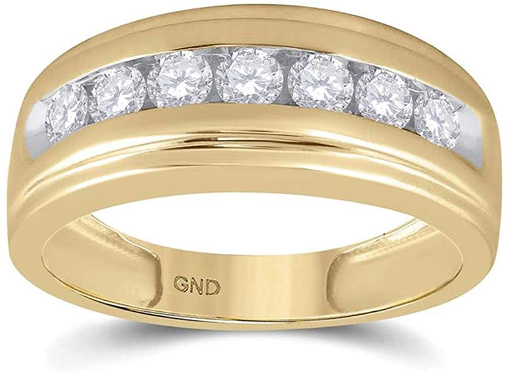 Dazzlingrock Collection 14kt Yellow Gold Mens Round Diamond Wedding Band Ring 7/8 Cttw