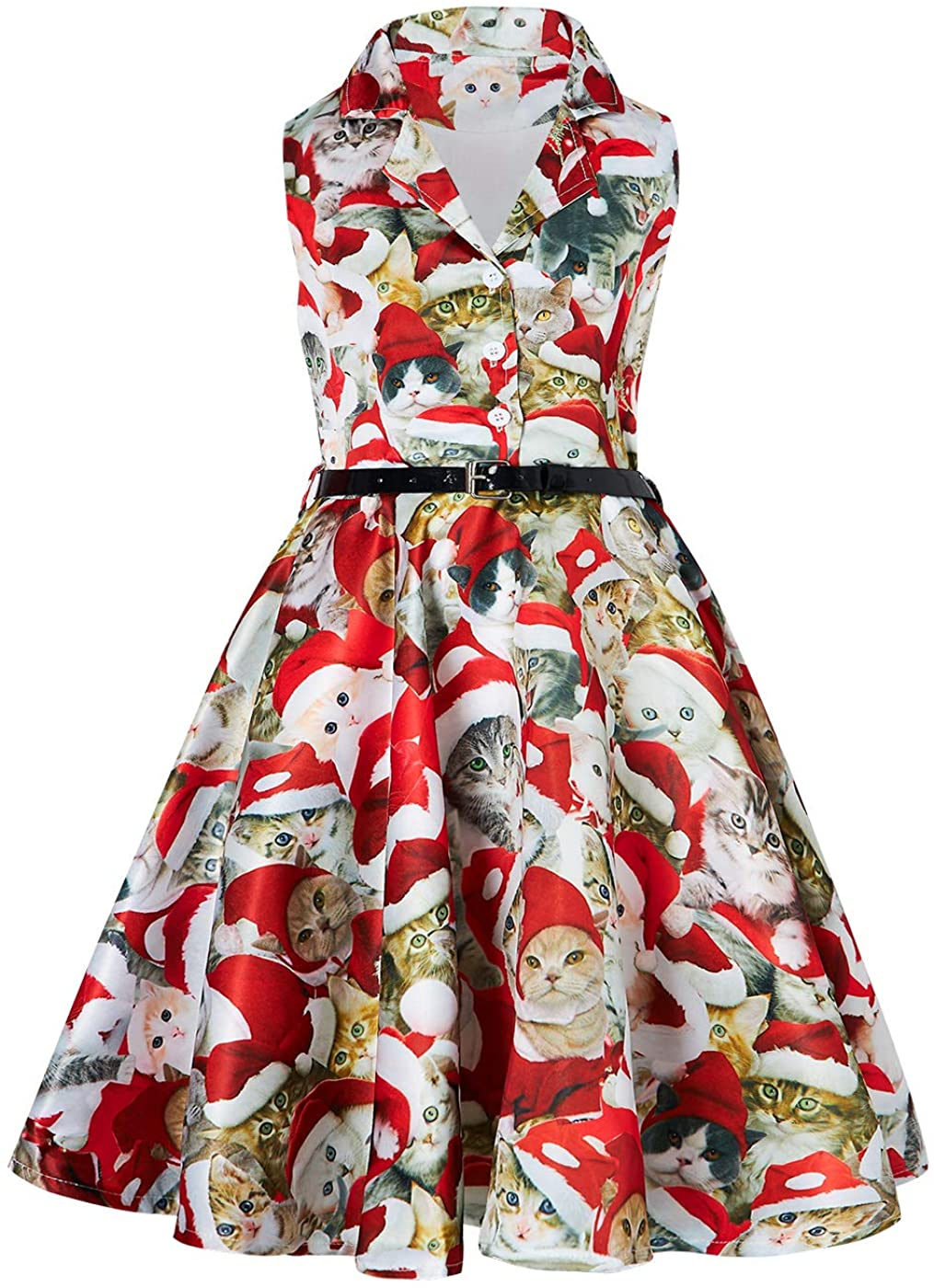 RAISEVERN Girls Vintage Dress Retro Print Sleeveless Swing Party Dresses with Belt 6-13 Years