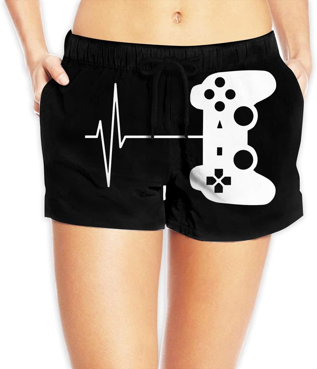 Hdecrr FFRE W Gamer Heartbeat Women's Shorts Summer Quick Dry Drawstring Elastic Waist Casual Pants