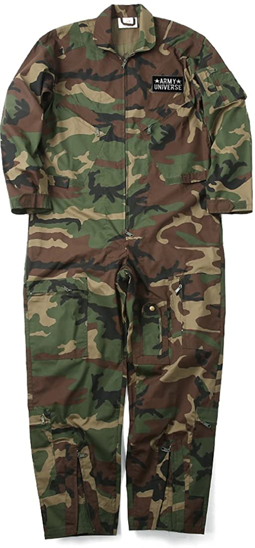 Army Universe Mens Woodland Camo US Air Force Style Paintball Flight Suit Coveralls Patch