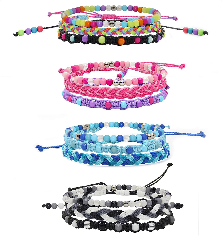 FROG SAC 12 PCS VSCO Bracelets for Teen Girls, Kids Friendship Bracelets for Girls, Party Favors for Teens Girls, Cute VSCO Girl Stuff, VISCO Braided Stretch Friendship Bracelet Pack, Bead Woven String Bracelets