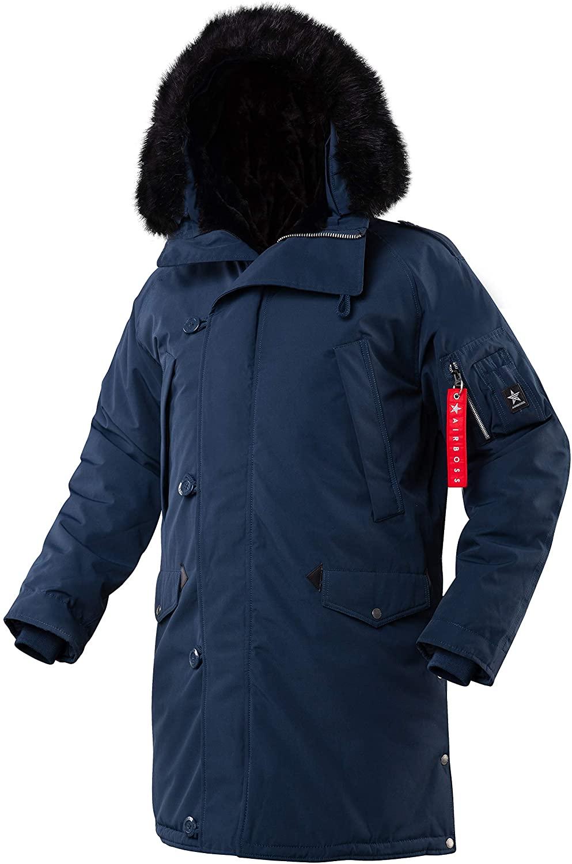 AIRBOSS N-5B Tardis Winter Coat for Men, Water perrelent Fabric (Replica Blue, XS)