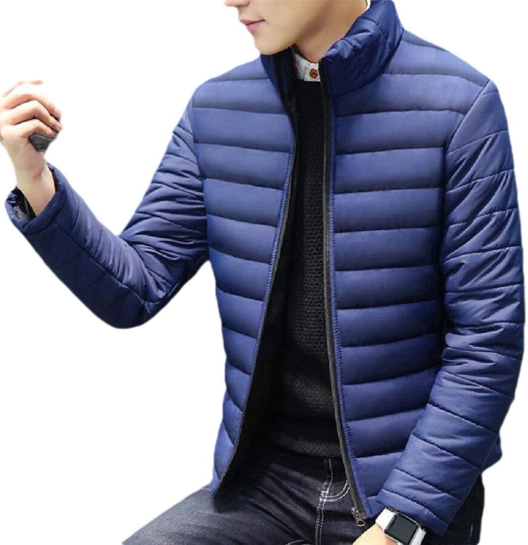 yibiyuan Mens Jackets Winter Warm Stand Collar Long Sleeve Zip Coat Jacket Outwear Down Jackets