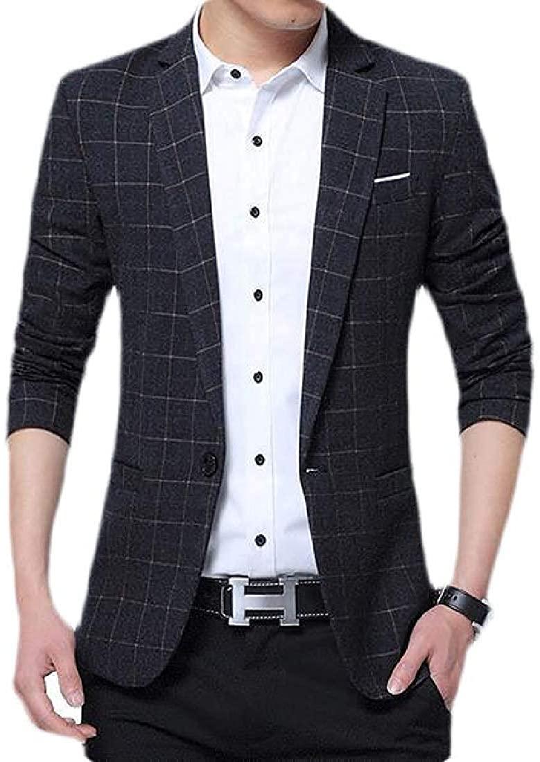 Mens Suit Casual Business Slim Formal Plaid Dress Blazer Jacket Coat