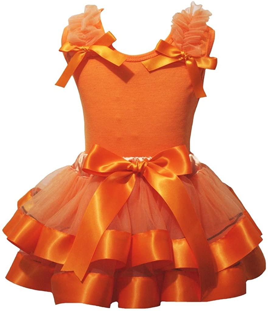 Petitebella Dress Plain Orange Shirt Petal Skirt Nb-8y