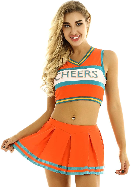 YiZYiF Women's Cheerleading Costume 2 Pieces V Neck Crop Top Mini Skirt Uniform Set Outfit Dress