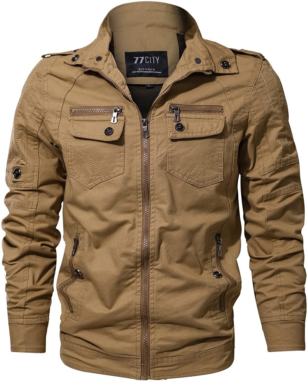 CYVVV Men's Military Cotton Lightweigh Bomber Air Force Jacket Coat Multi-Pocket