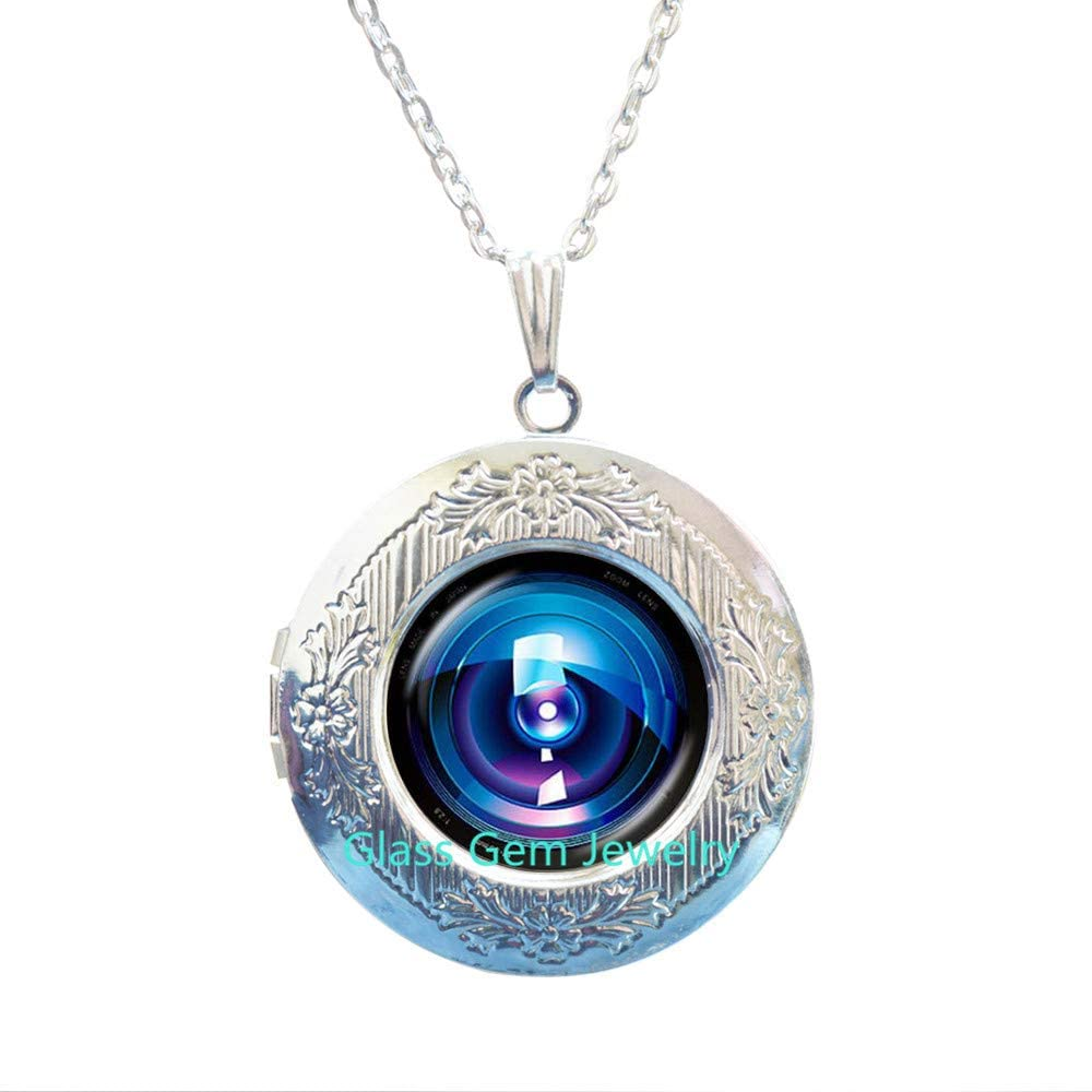 Camera Lens Locket Pendant Photo Grapher Locket Necklace Glass Jewelry Old Lenses Chain Locket Necklace Gift for the Photographer,Q0240