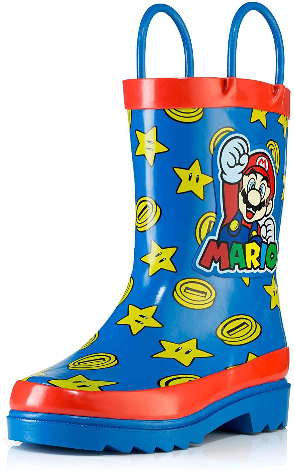 Nintendo Kids Boys` Super Mario Character Printed Waterproof Easy-On Handles Rubber Rain Boots - Toddler/Little Kids