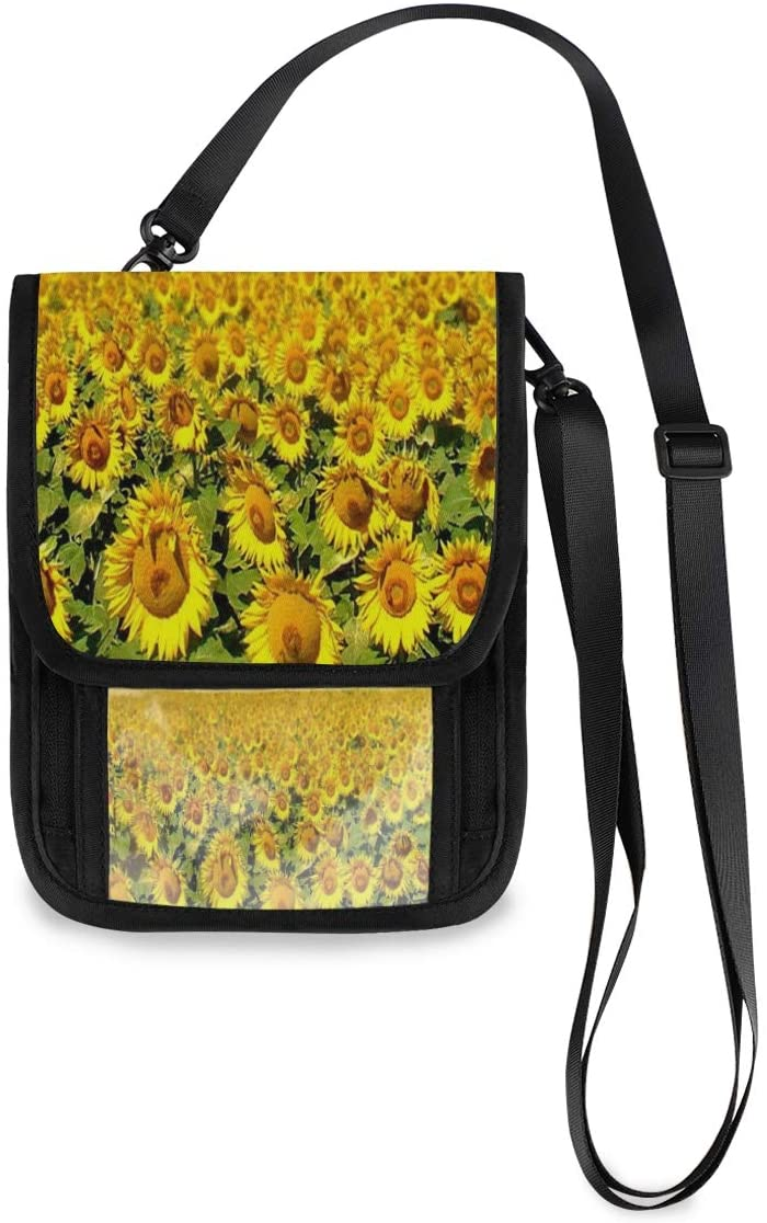 Sunflowers Great Neck Wallet Concealed Passport Holder and Family Travel Neck Pouch Hidden Passport Holder Wallet Neck Stash Document Organizer For Men Women