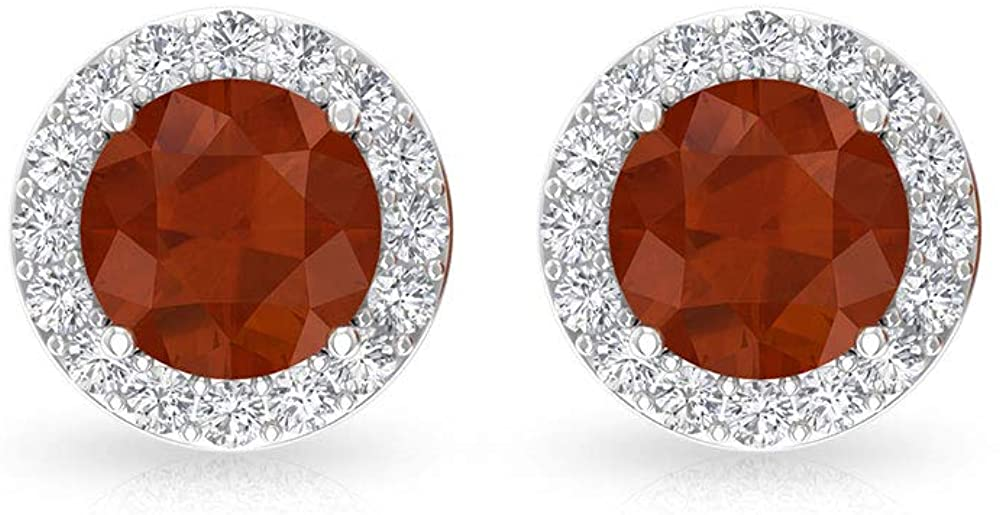 0.50 CT Solitaire Citrine-BB IGI Certified Diamond Halo Stud Earring, Yellow November Birthstone Bridal Wedding Earrings, Gemstone Mother Day Earrings, Screw Back