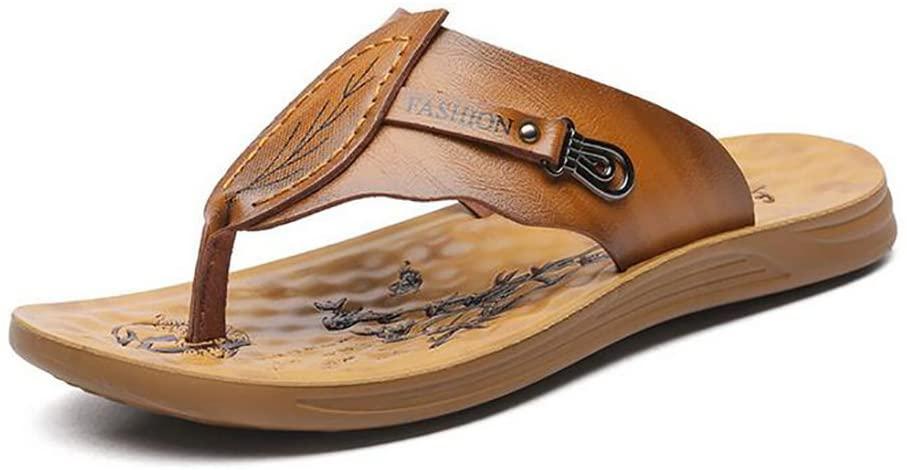 SHANGXIAN Summer Flip-Flops Breathable Casual Sandals Men's Beach Flat Shoes Slipper,Lightbrown,41