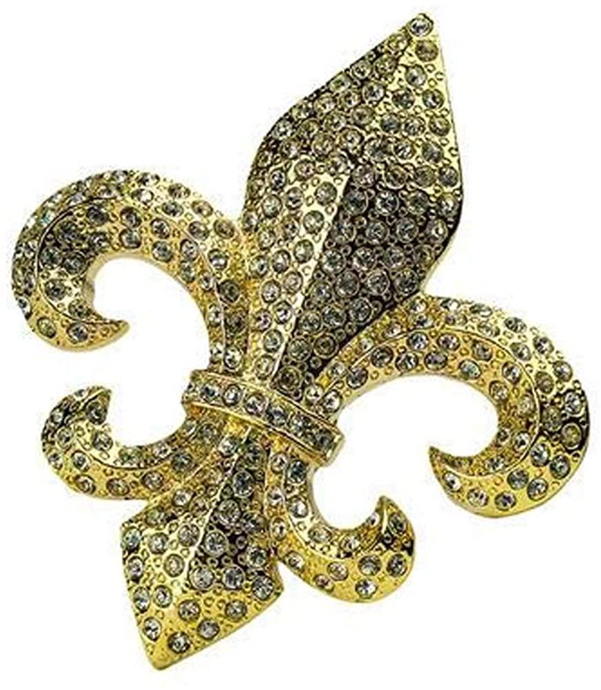 Women's Jeweled Rhinestone Fleur de Lis Belt Buckle - Fits Belts Up to 1.5 Inches Wide