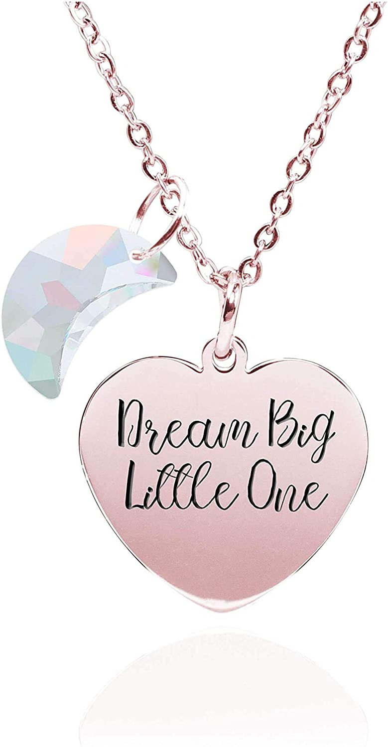 Pink Box Dainty Inspirational Heart Necklace Made with Crystals from Swarovski - Little One - Rose Gold