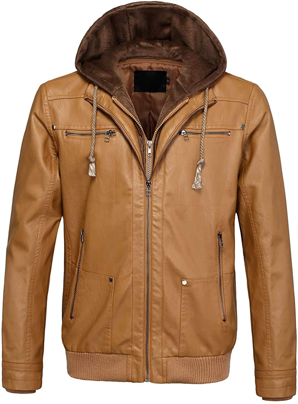 Gsdgjgg Men's Casual Removable Fleece Hooded Zip-Up Faux Leather Moto Bomber Jacket