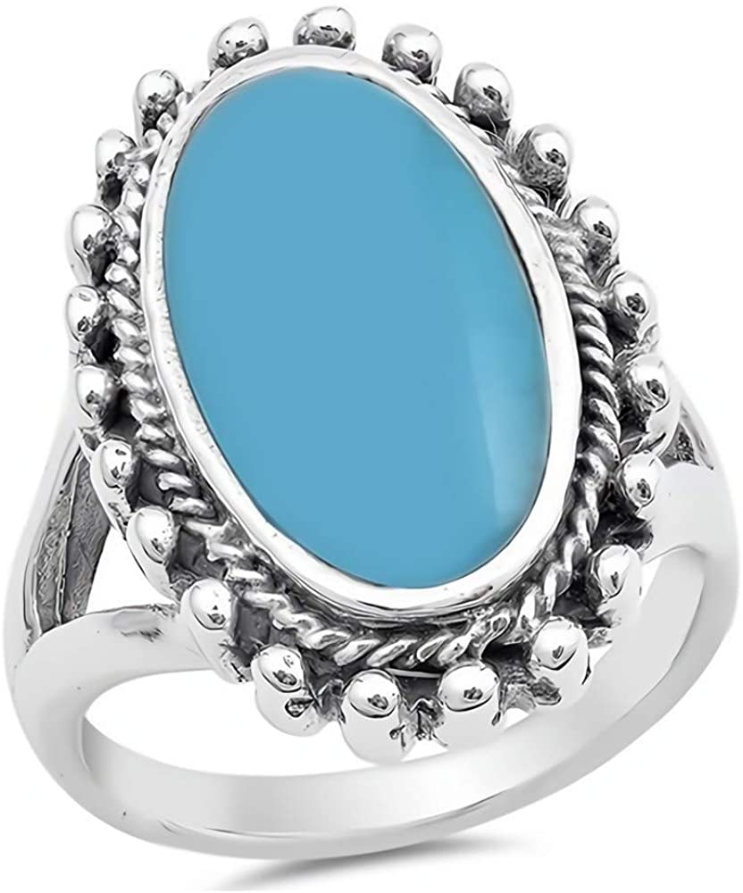 Glitzs Jewels 925 Sterling Silver Ring with Stone (Blue/Green) | Jewelry Gift