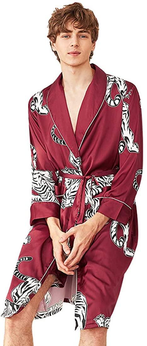 Globalwells Men Kimono Robes Long Sleepdress Tiger Printed Sleepwear Satin Nightwear Bathrobe Gown