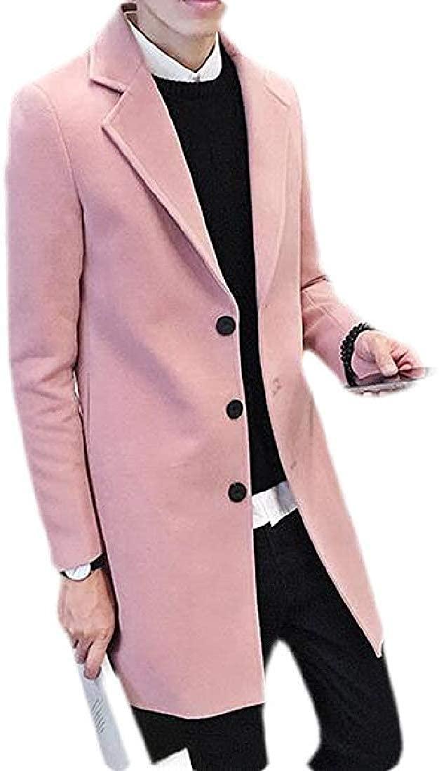 Wndxfhdscd Men's Overcoat Winter Solid Single Breasted Pea Coat Jacket Outerwear