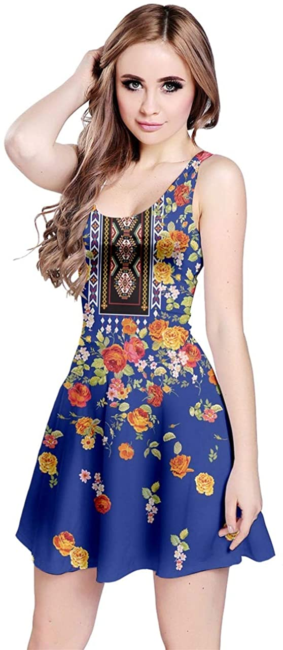 CowCow Womens Party Casual Dress Vintage Floral Aztec Navajo Print Sleeveless Skater Dress, XS-5XL