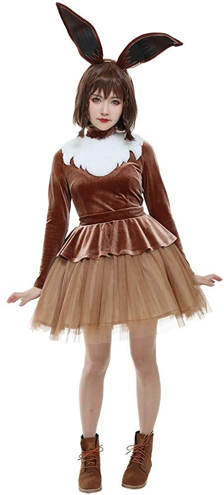 Coskidz Women's Eevee Cosplay Costume Halloween Dress with Ears