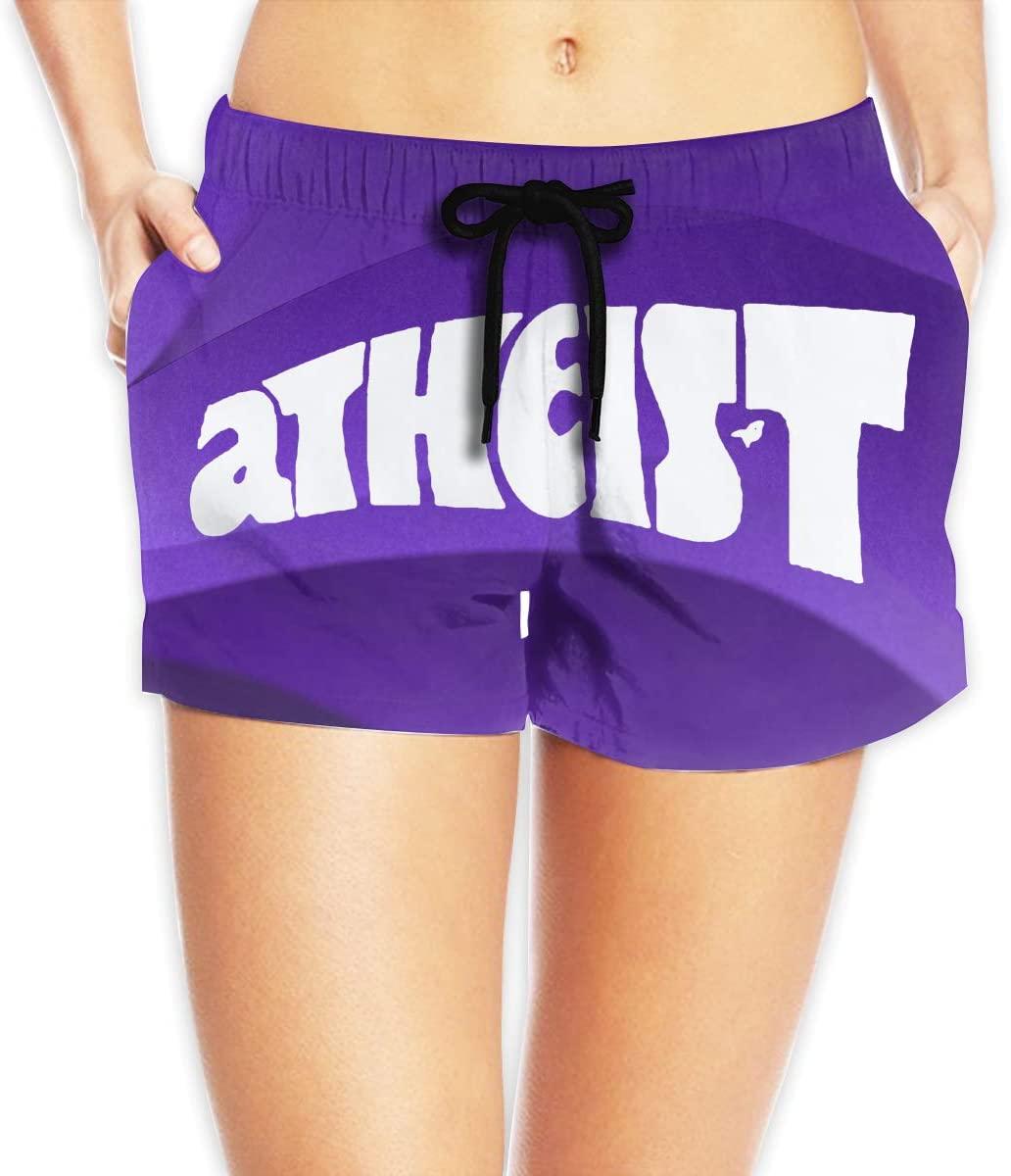 Hdecrr FFRE W Atheist Womens Shorts Summer Quick Dry Drawstring Elastic Waist Casual Beach Shorts