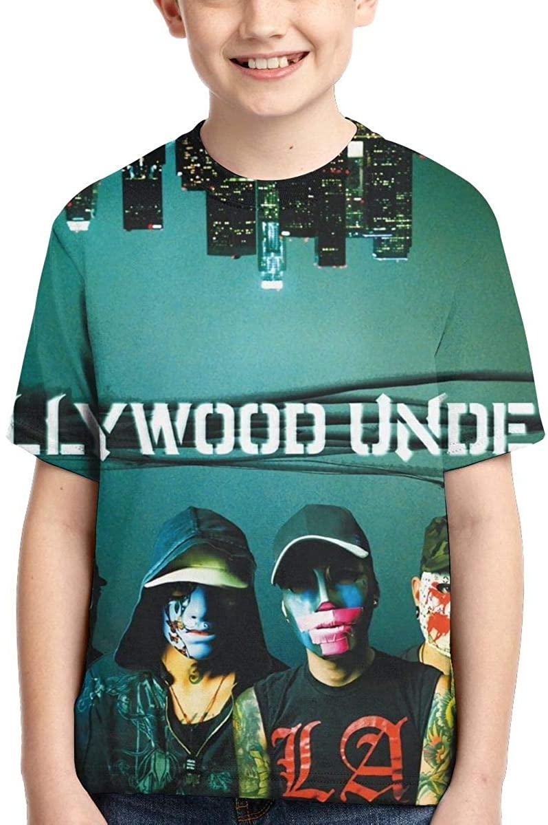 RhteGui Hollywood Undead Girls' Boys' Short Sleeve Crewneck Tees Black