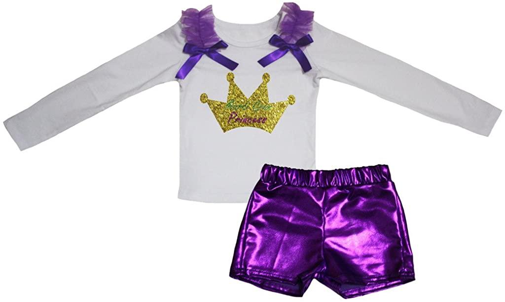 Petitebella Mardi Gras Princess White L/s Shirt Purple Bling Short Set 1-8y