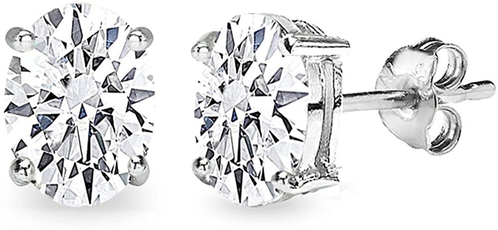 Sterling Silver AAA Cubic Zirconia Oval-Cut Stud Earrings for Women Teens