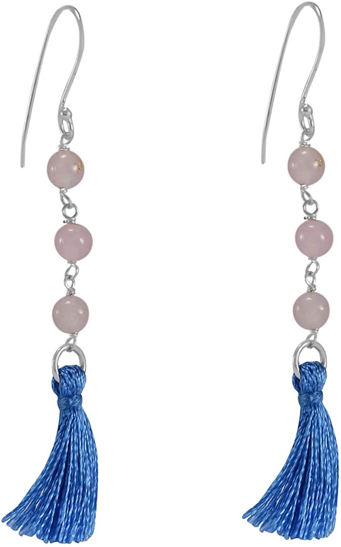 Silvesto India Rose Quartz-925 Sterling Silver Handmade Jewelry Manufacturer Fish Hook Tassel Dangle Earring Jaipur Rajasthan India Length-6.1 cm